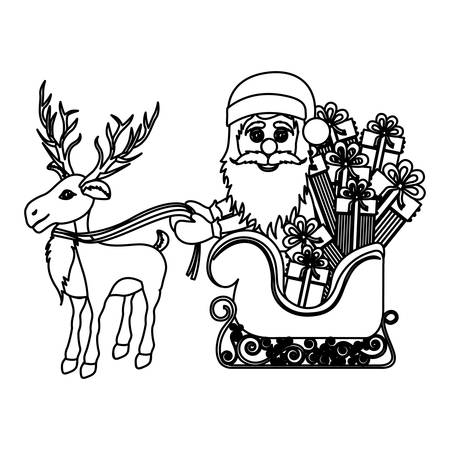 santa sleigh: monochrome silhouette of reindeer with santa claus in sleigh with gifts vector illustration