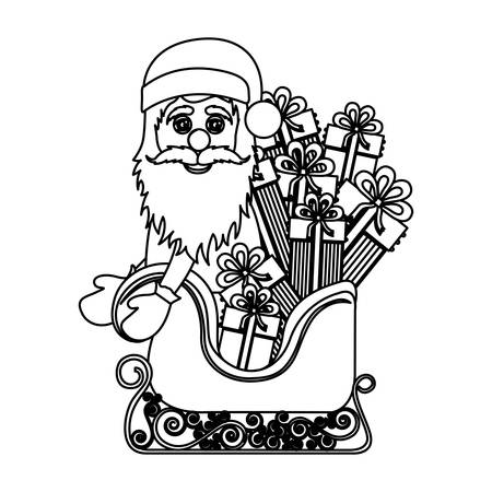 santa sleigh: monochrome silhouette of santa claus in sleigh with gifts vector illustration