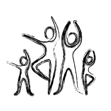 sketch of pictogram with practice of ballet poses vector illustration Ilustração