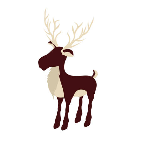 colorful background with reindeer with big horns vector illustration