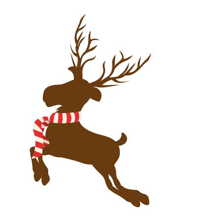 color background with reindeer jumping with big horns and striped scarf vector illustration
