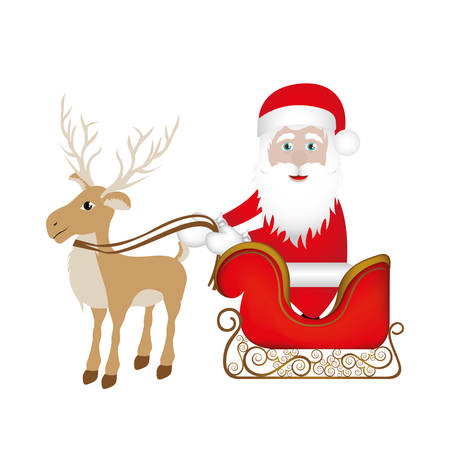claus: colorful silhouette of reindeer with santa claus in sleigh vector illustration Illustration