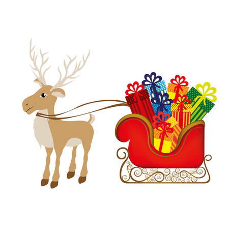 santa sleigh: colorful silhouette of reindeer and sleigh with gifts vector illustration