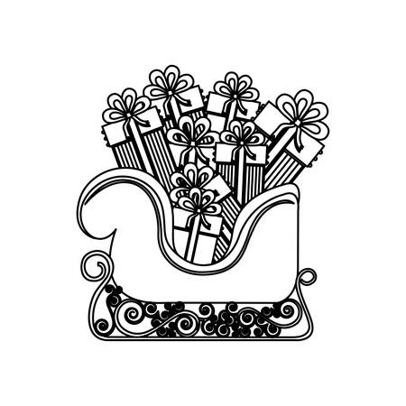 santa sleigh: monochrome contour of sleigh with gifts vector illustration