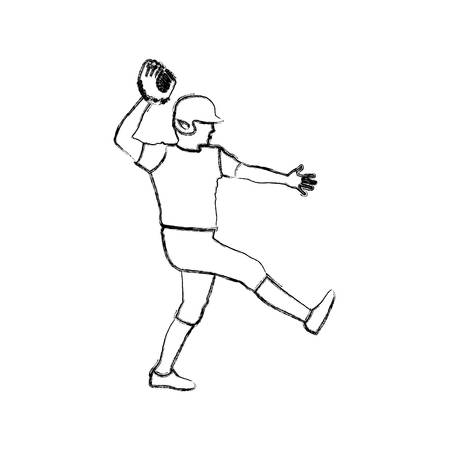 monochrome sketch of baseball pitcher vector illustration