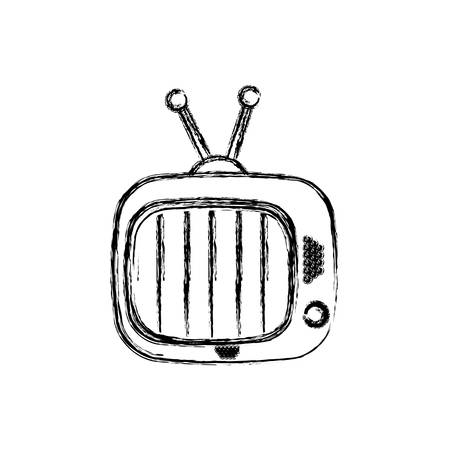 Blurred silhouette of antique tv device icon vector illustration Illustration