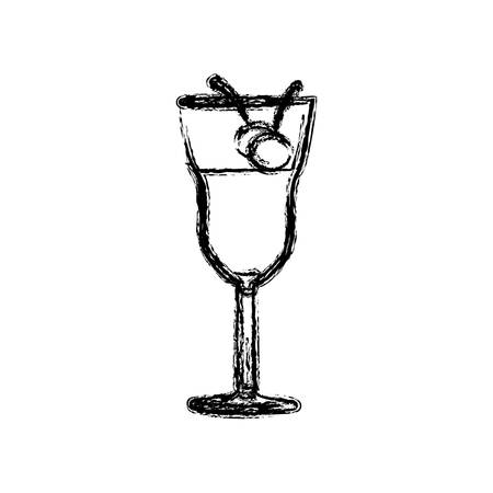 gin: Blurred silhouette drink cocktail glass with cherries vector illustration.