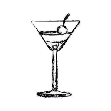 gin: Blurred silhouette martini drink cocktail glass with cherry vector illustration. Illustration