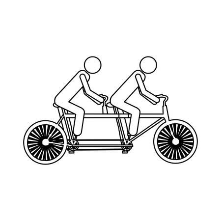 Monochrome contour pictogram of men in tandem bicycle vector illustration. Illustration