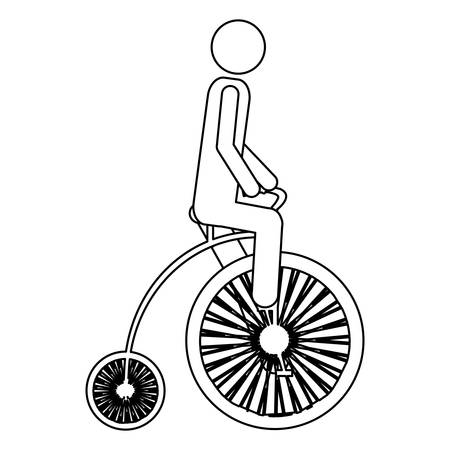 monete antiche: Monochrome contour pictogram of man in penny farthing vector illustration. Vettoriali