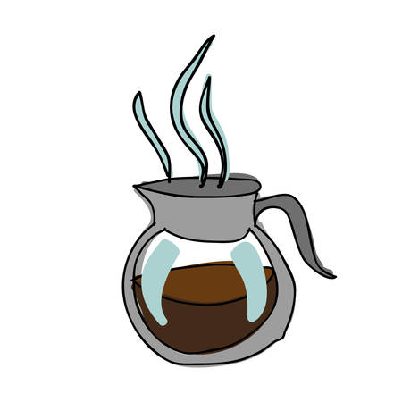 Silhouette color hand drawn with glass jar of hot coffee with handle vector illustration