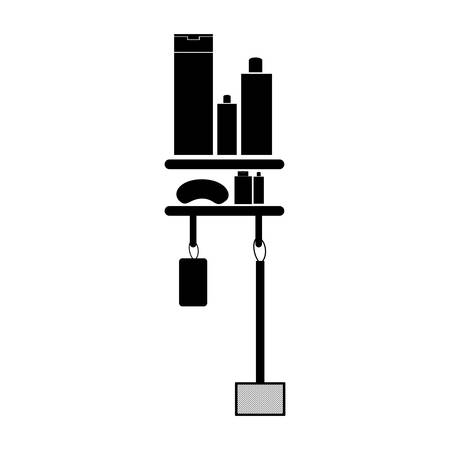 furniture store: Monochrome silhouette of shelf with beauty products in bath vector illustration.