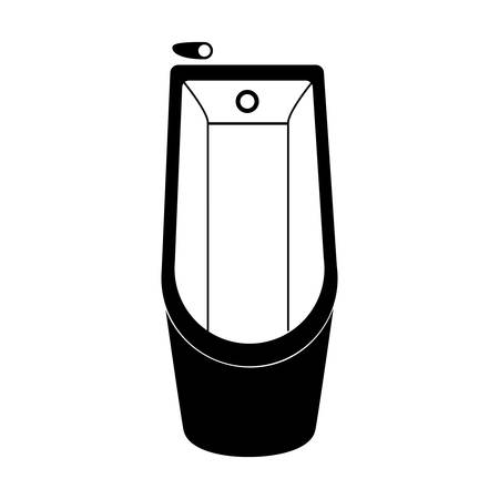 Monochrome silhouette of bathtub in top view vector illustration. Illustration