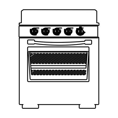 gas stove: Sketch silhouette of stove with oven vector illustration