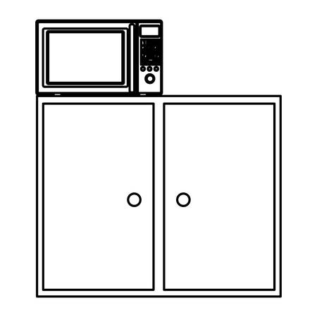 kitchen furniture: Silhouette of kitchen shelf and drawers with microwave vector illustration