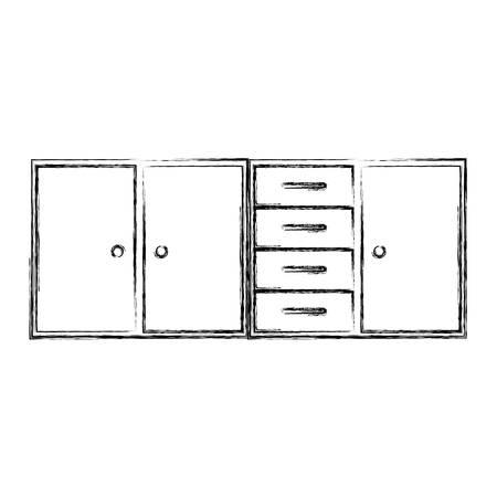 granite counter: blurred silhouette of modern kitchen lower cabinets vector illustration Illustration