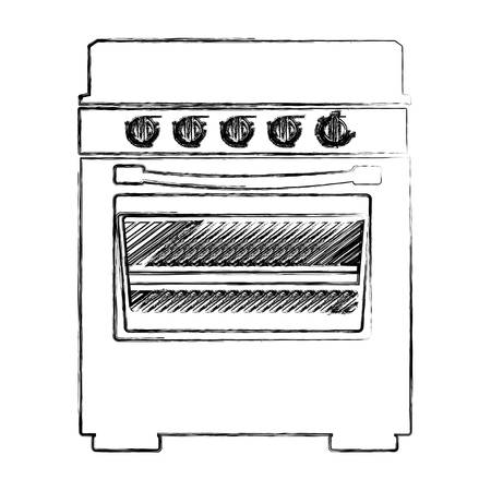 gas stove: blurred silhouette of stove with oven vector illustration Illustration