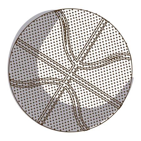 silhouette basketball ball in monochrome dots vector illustration