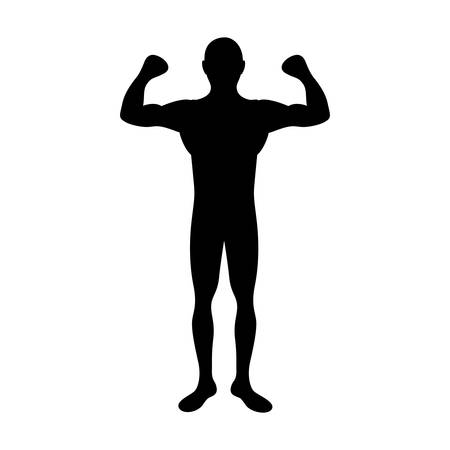 black silhouette muscle man fitness vector illustration