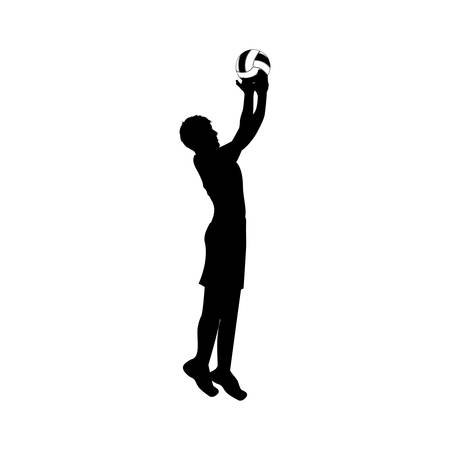 black silhouette man playing volleyball vector illustration Illustration
