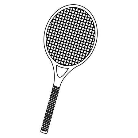 monochrome contour of tennis racket vector illustration Illustration