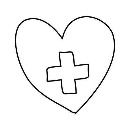 monochrome hand drawn contour of heart with cross inside vector illustration