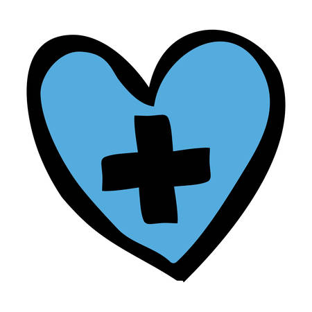 colore disegnato a mano silhouette di cuore blu con croce all'interno illustrazione vettoriale