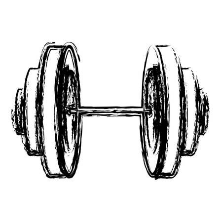 dumbell: Monochrome sketch of dumbbell icon vector illustration