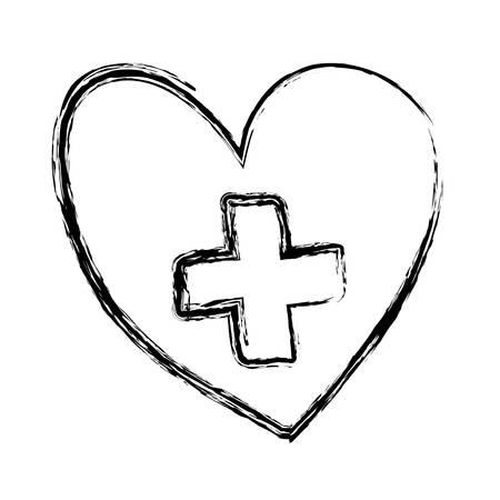 monochrome hand drawn sketch of heart with cross inside vector illustration Ilustração