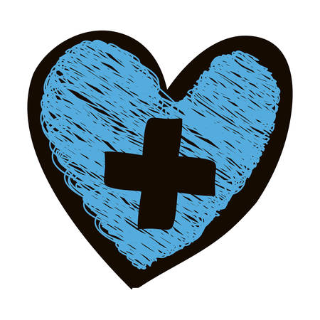 hand drawn silhouette with colored pencil of blue heart with cross inside vector illustration