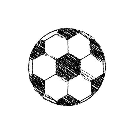 silhouette drawing soccer ball element sport vector illustration