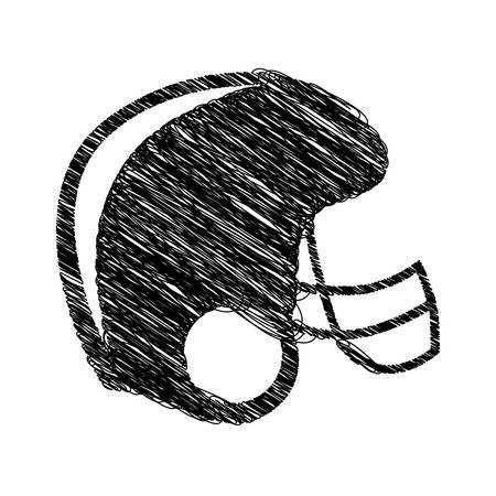 silhouette drawing american football helmet vector illustration Illustration