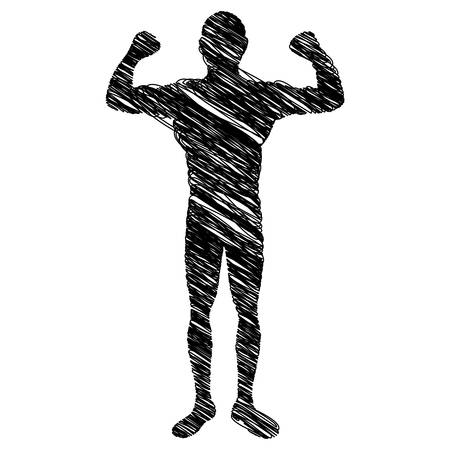 silhouette drawing big muscle man fitness vector illustration Illustration