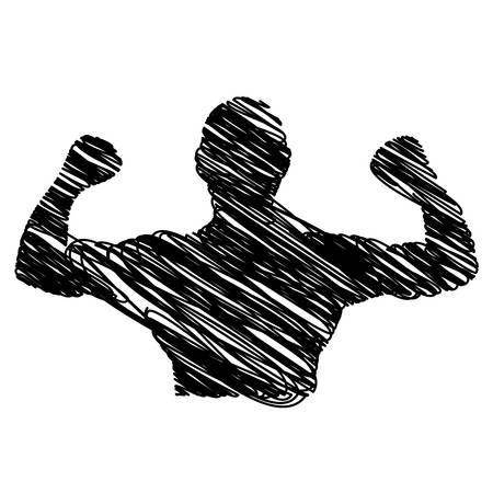 silhouette drawing half body muscle man fitness vector illustration Illustration