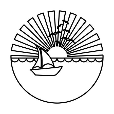 caribbean cruise: silhouette circular background sunset in the ocean with boat over waves vector illustration