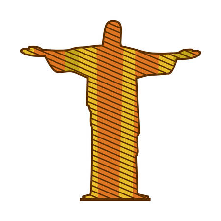janeiro: color silhouette of christ redeemer with background striped vector illustration Illustration
