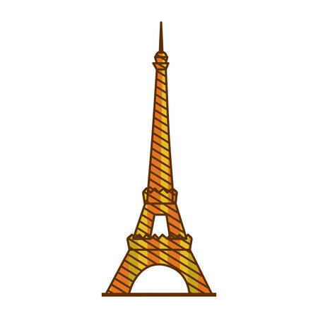 color silhouette of eiffel tower with background striped vector illustration