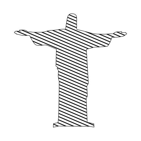 cristo: monochrome silhouette of christ redeemer to striped vector illustration