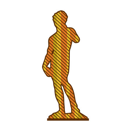 color silhouette of sculpture david made by buonarroti with background striped vector illustration Illustration
