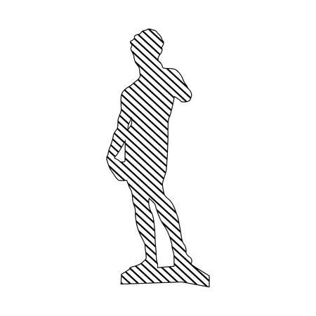 silhouette monocromatica di scultura david made by buonarroti a striped illustrazione vettoriale