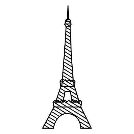 french culture: monochrome silhouette of eiffel tower to striped vector illustration Illustration
