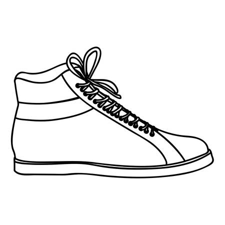 shoelaces: monochrome silhouette of male leather boot with shoelaces vector illustration