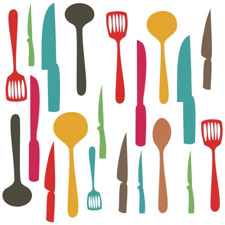 キッチン用品ベクトル イラストのカラフルな設定パターン  イラスト・ベクター素材