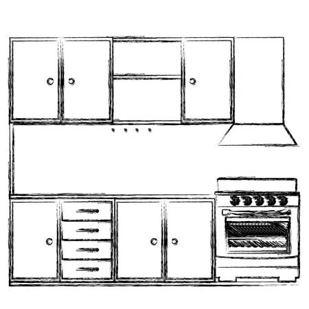 gas stove: monochrome sketch of kitchen cabinets with stove and oven vector illustration