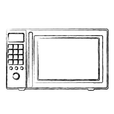defrost: monochrome sketch of oven microwave vector illustration Illustration