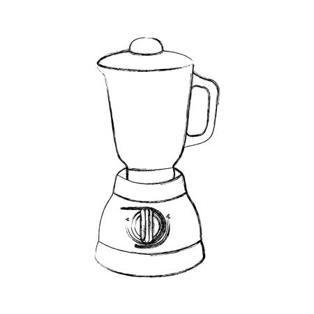 cocktail mixer: monochrome sketch of kitchen blender vector illustration