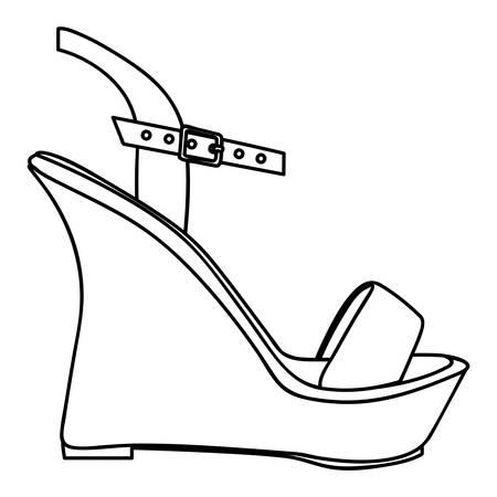 monochrome silhouette of sandal shoe with platform sole vector illustration