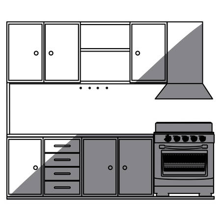 gas stove: monochrome silhouette of kitchen cabinets with stove and oven vector illustration