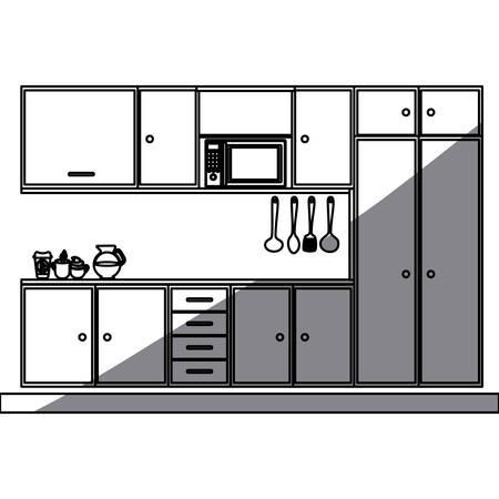 gas stove: monochrome silhouette of modern kitchen cabinets vector illustration Illustration