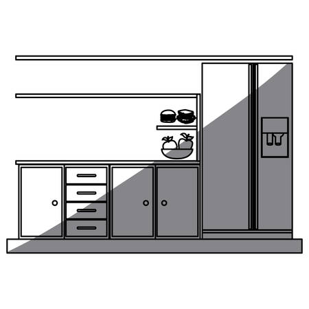 gas stove: monochrome silhouette of lower kitchen cabinets with fridge vector illustration